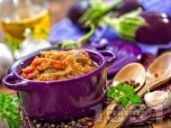 Рецепта Пюре от патладжан с печени чушки, лук, чесън и магданоз за гарнитура